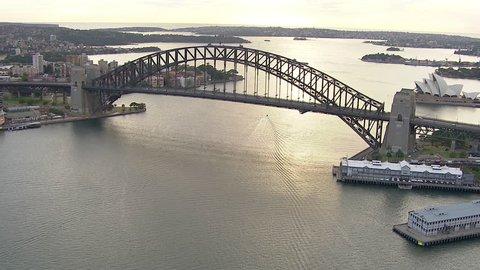 Wide aerial shot of Sydney Harbour Bridge from west to east Sydney Harbour Bridge, Sydney Opera House
