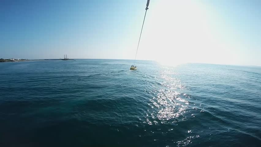 Tourists flying on a parachute, parasailing, Alanya Turkey | Shutterstock HD Video #6992323