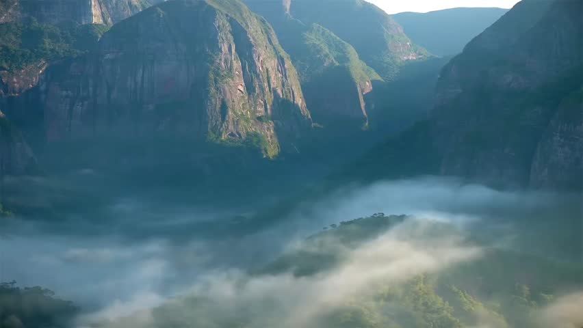 Tropical Forest Covered Mountains In The Morning With Fog. Time Lapse | Shutterstock HD Video #7023943