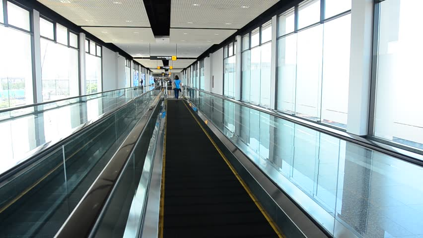 Escalator Is A Moving Staircase In Bangkok   HD Stock Footage Clip