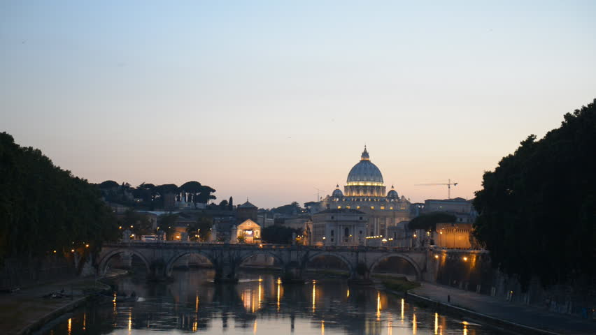 St. Peter's Basilica Vatican, Rome Skyline Ponte Sant Angelo Bridge Dusk Night | Shutterstock HD Video #7063213