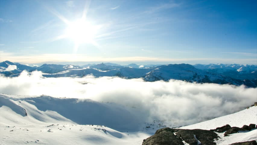 Time lapse of beautiful snow covered landscape with clouds and the sun | Shutterstock HD Video #7100593
