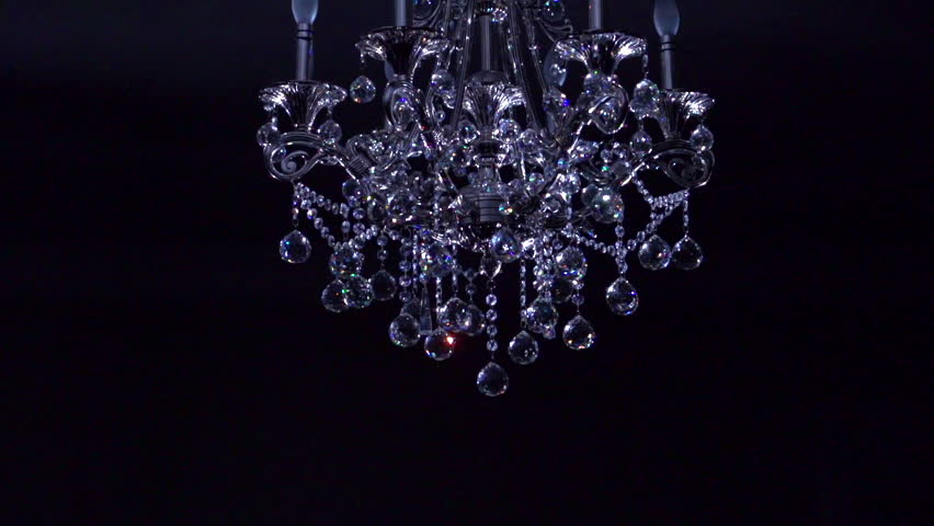 Crystal Chandelier On Black Background Stock Footage Video 7142497 ...