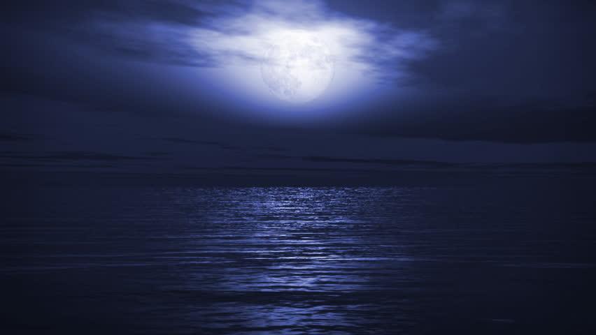 (1167) Blue Full Moon Tropical Ocean Waves Romantic Night Travel LOOP!