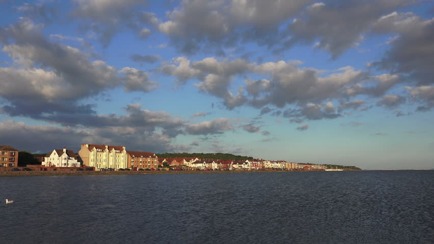Houses and buildings along marina at West Kirby, Wirral, UK