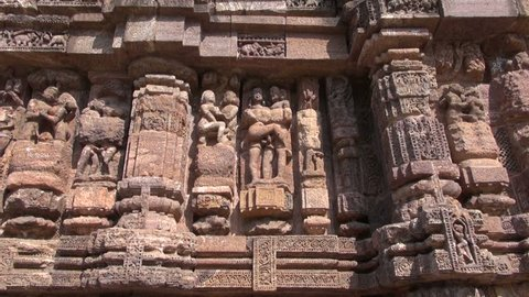 beautiful historical ancient erotic sculptures on Konark sun temple wall, Odisha, India