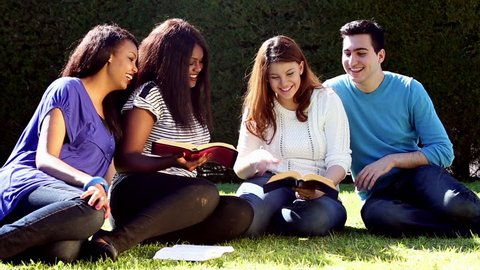 Group of Young people Studying the Bible together