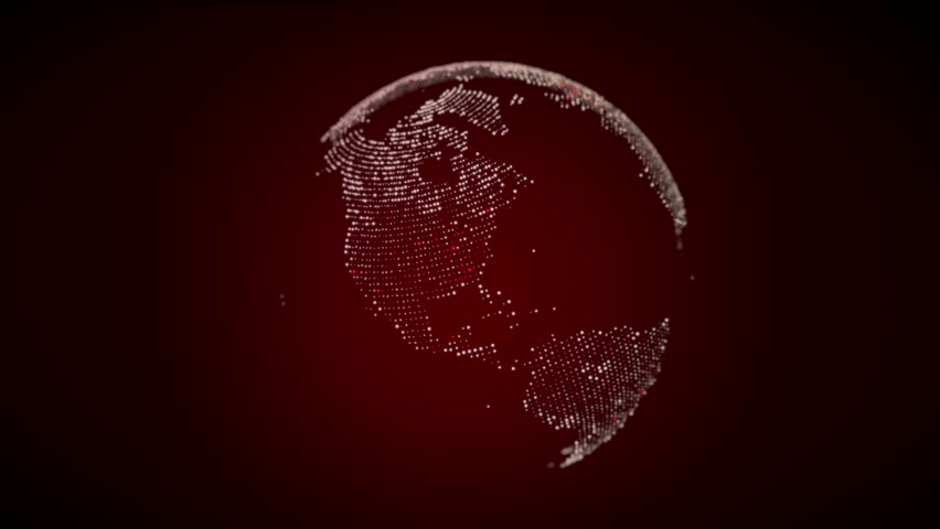 USA on digital globe with animated connections. Zoom in. Red version.
