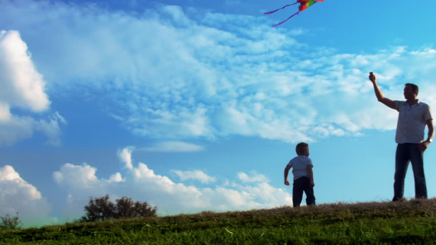 Father And Son Flying Kite Stock Footage Video 100 -6251