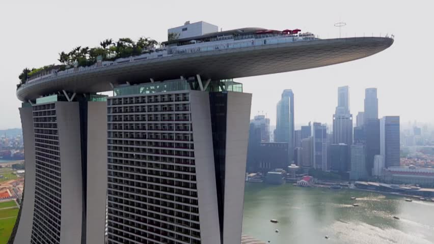 Aerial view of Marina Bay Sands revealing Singapore City Skyline in the background, Feb 2014
