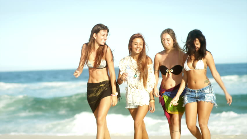 Young Beautiful Women Walking Together Stock Footage Video 100 Royalty Free 7200943 Shutterstock