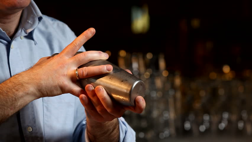 Bartender MIxing Drink In Cocktail Shaker