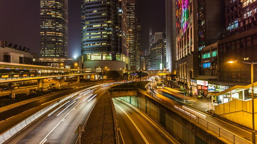 Traffic in Hong Kong at Night | Shutterstock HD Video #7207105