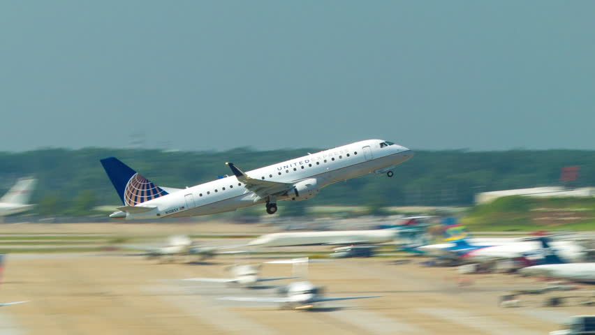 atlanta 2014 united express airlines embraer erj170 commercial passenger jet taking off from