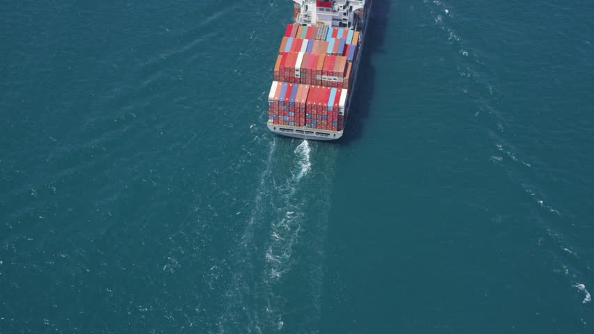 Aerial shot of container ship in at sea near Los Angeles container shipping Port