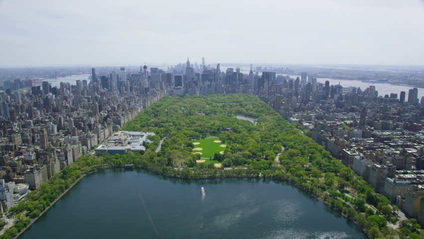 Aerial view of Central Park in New York City, United States of America. Helicopter flying over the green area of NYC. | Shutterstock HD Video #7245013