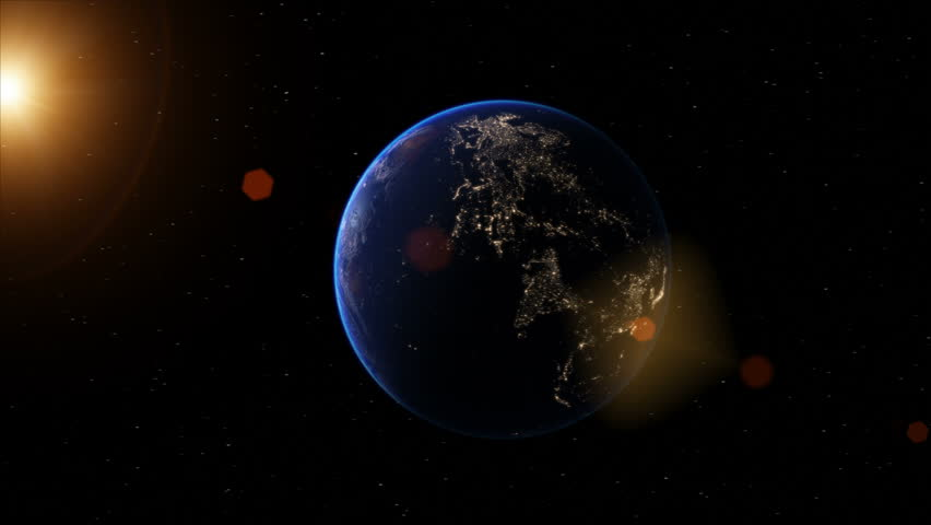Realistic Earth globe zoom and dock on South America 4K
