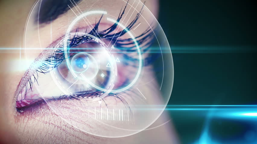 Digital animation of Eyes looking at holographic interface with map