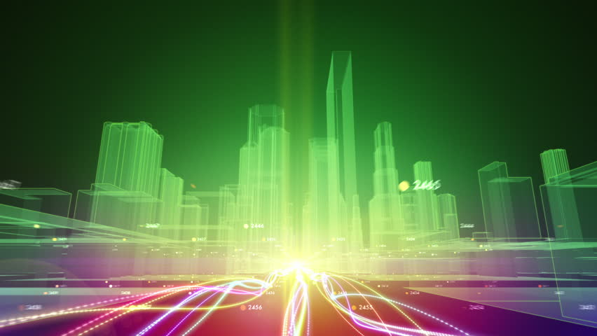 Abstract animation of fiber optic cables carrying information toward wireframe city buildings | Shutterstock HD Video #7304620