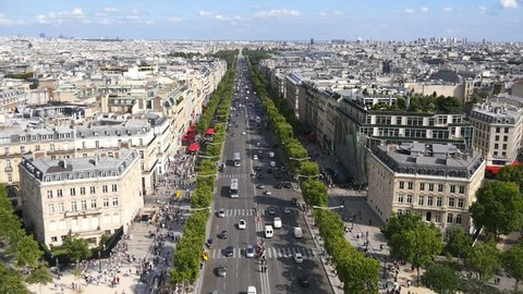Aerial view on Champs Elysee Paris