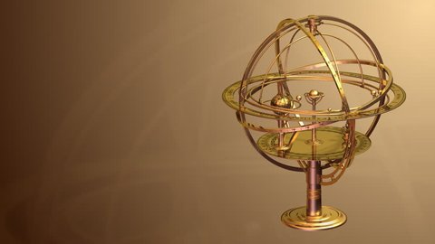 Armillary Sphere Background. 3D Animation