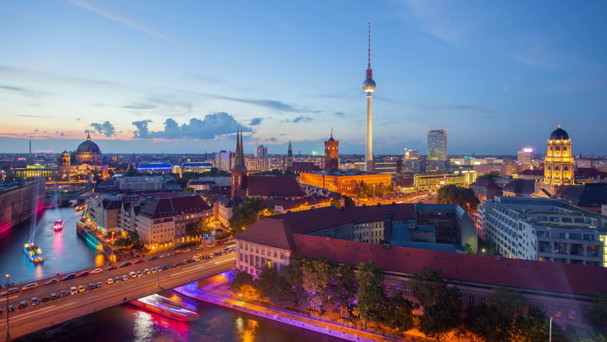 Berlin Skyline Light City Timelapse with Speed Boats and Traffic in 4K UHD and 1080p Full HD, German Capital
