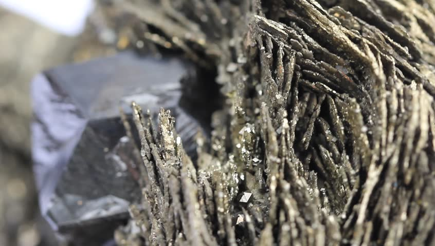 Crystals of pyrite and pyrrhotite