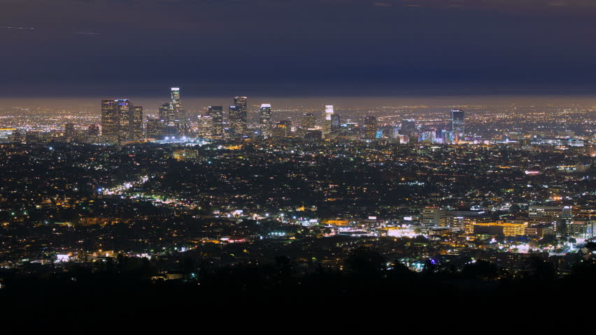 4K Cityscape Los Angeles Skyline Night Time-lapse Panorama City | Shutterstock HD Video #7335253