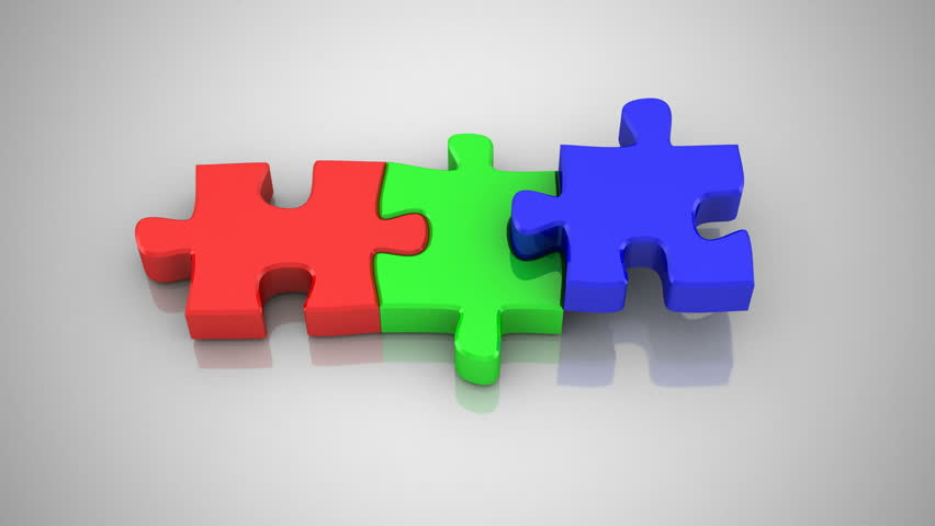 Jigsaw Puzzle Assembly. 3D Animation And Gradient ...