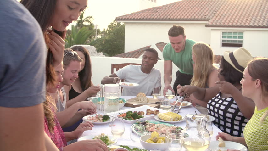 Group Of Young People Enjoying Outdoor Summer Meal | Shutterstock HD Video #7376233