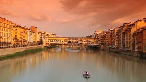 Time-lapse of Ponte Vecchio at sunset, Florence, Tuscany, Italy.