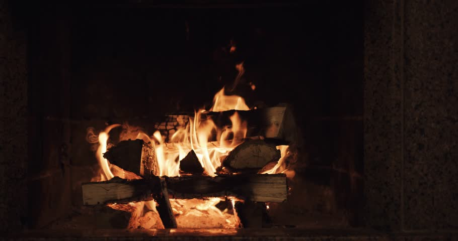 Slow Motion Of Fireplace Burning. Warm Cozy Fire In A Brick ...