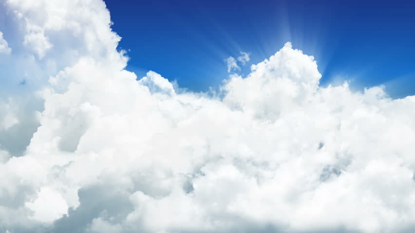 A flight through sunny clouds. Flight through a cloud layer with sun-rays. Shiny effect with rays. Tracking shot. Loop. CG 3D-Animation in HD 1080p.