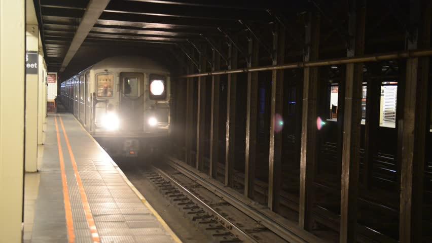 Subway-Train Moving in Manhattan New York, HD Video