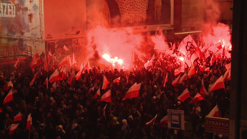 Warsaw, Poland: Far right demonstration at Polish Independence Day. Warsaw city center at november 11th 2013