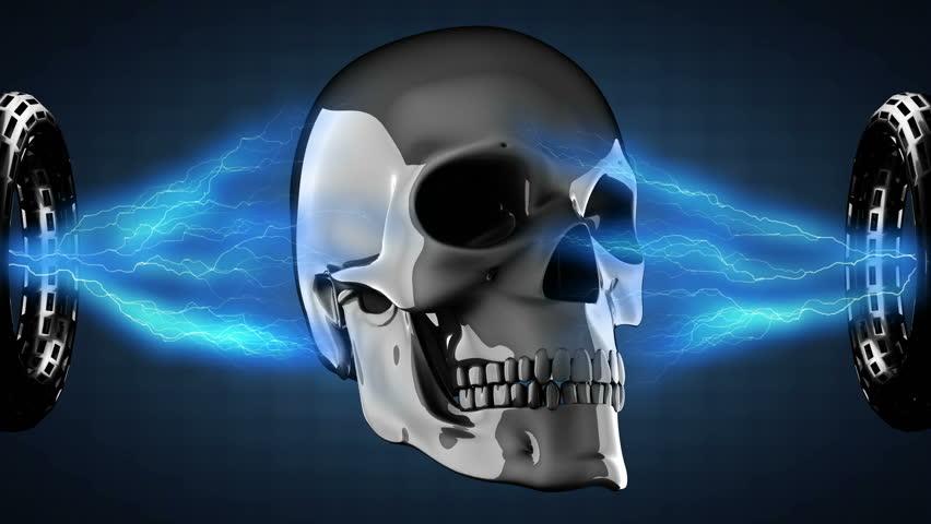 Metal skull rotating   Shutterstock HD Video #7463812