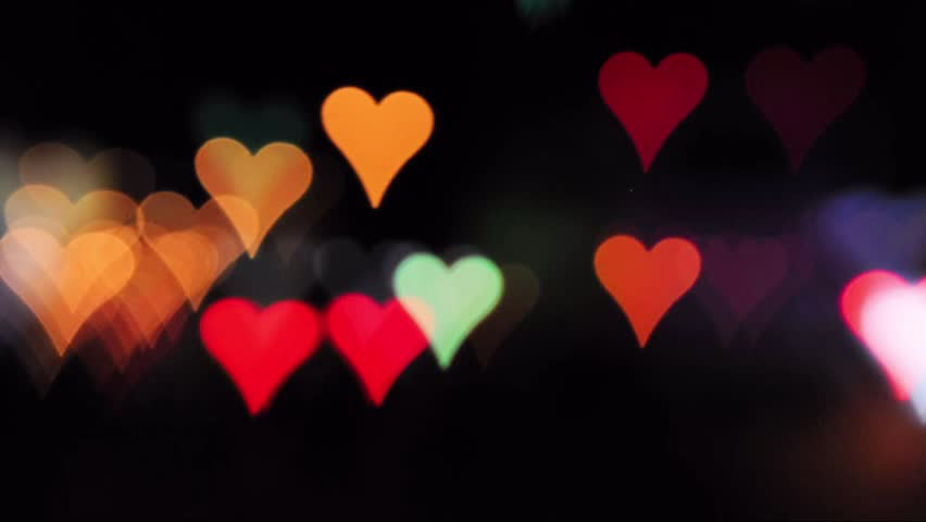 Bokeh Heart Shape Of Light Background Stock Footage Video: Pink Blurred Hearts Rising On A Black Background Stock