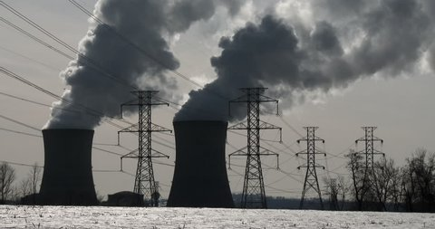 Smoke rises from the nuclear power plant at Three Mile Island, Pennsylvania.