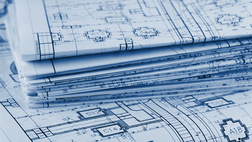Blueprints - A Stack Of Professional Architectural Drawings Stock ...
