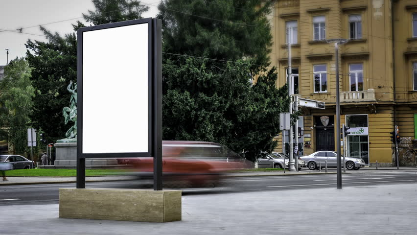City Light Poster Mock Up in the city center. | Shutterstock HD Video #7563043