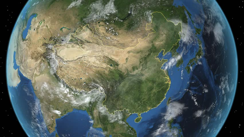 Loopable spinning earth with south east asia country maps for 3d map of outer space