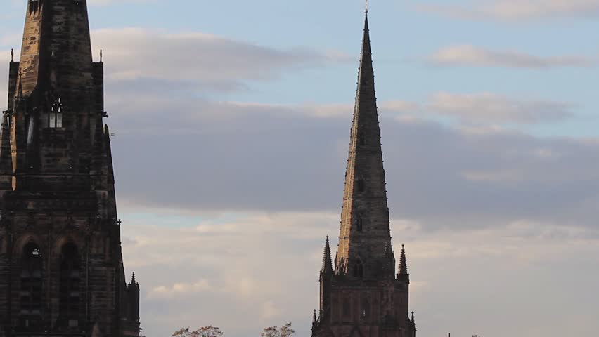 Spires of Lichfield Cathedral and St Marys Church Rooftop Point of View Look Over Historic City Lichfield Cloudy - October, 2014  Location: Lichfield, Staffordshire, England, UK  Source: Canon 5DMkiii