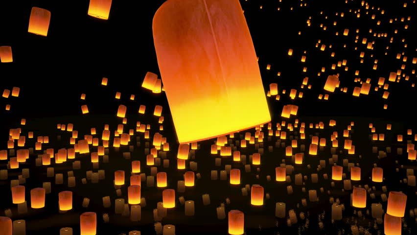 4k beautiful sky Lanterns flying in night sky, slow motion, 3d animation
