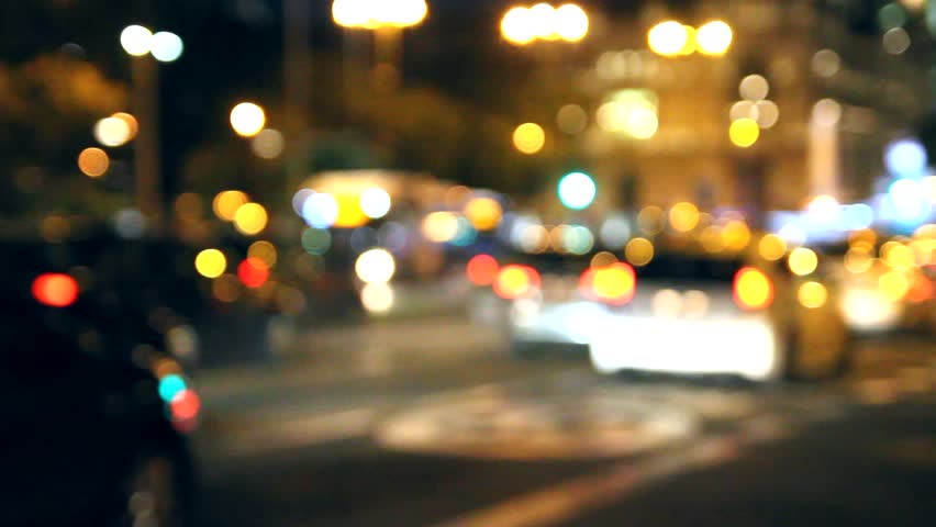 Out Of Focus Light Traffic On The Streets A City
