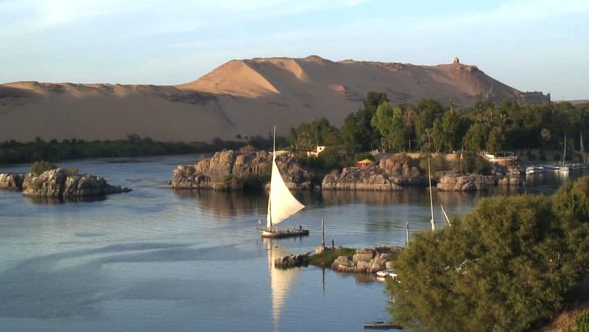 felluca sailing boat nile egypt stock footage video 100