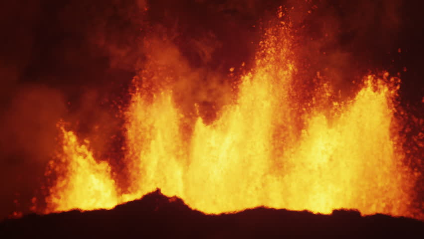Night scenic fire volcanic molten lava exploding magma open fissures seismic pollution hydrothermal landscape Holuhraun Iceland RED EPIC