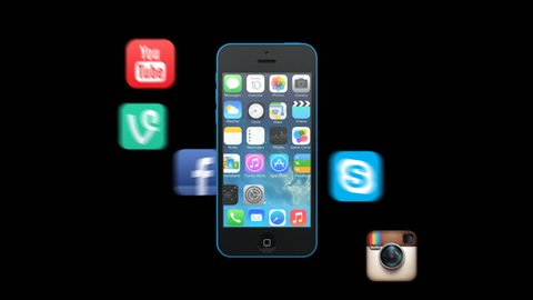 Editorial animation: Social App Icons Appear from Apple iPhone 5C