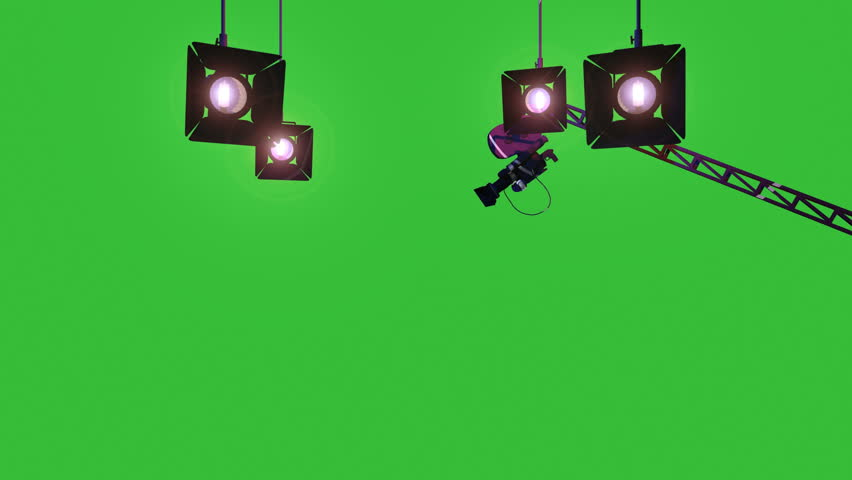 Green Screen Animation of a Movie Film Camera turning and moving toward the camera, mounted on a studio jib