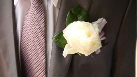 Groom Wear Gray Suit With Lilac Tie On His Wedding Day