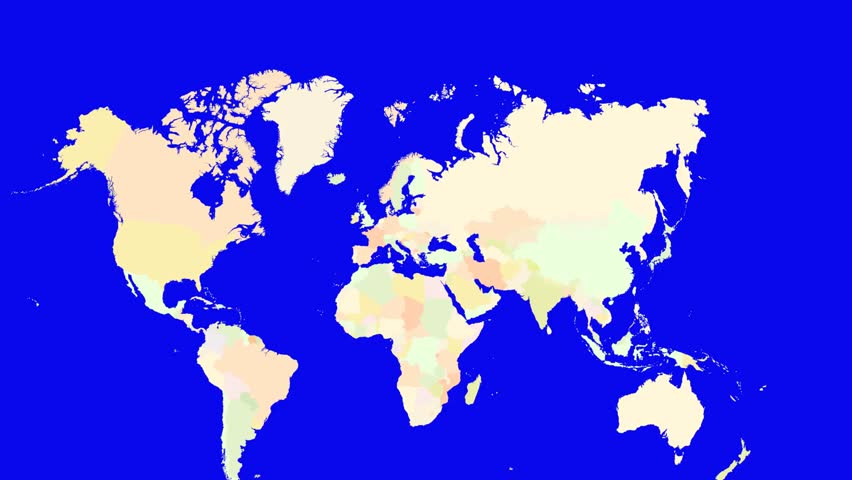 Russia Blinking Green World Map Over Blue Background Showing - Russia on a world map